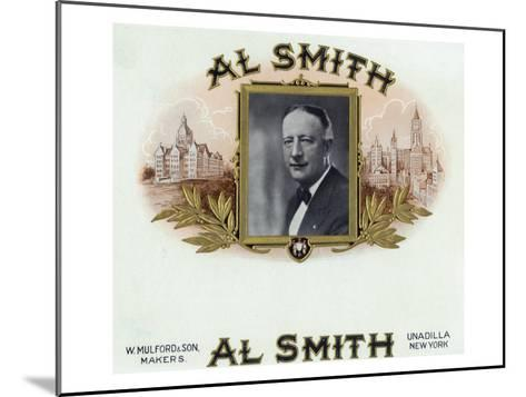 Al Smith Brand Cigar Box Label, Former Governor of New York-Lantern Press-Mounted Art Print