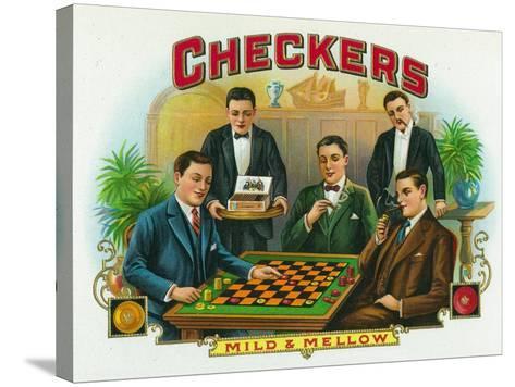 Checkers Brand Cigar Box Label-Lantern Press-Stretched Canvas Print