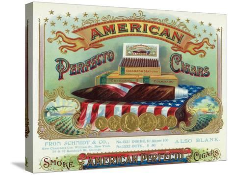 American Perfecto Cigars Brand Cigar Box Label-Lantern Press-Stretched Canvas Print