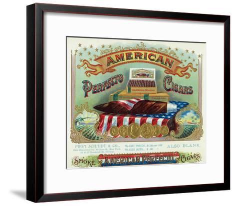 American Perfecto Cigars Brand Cigar Box Label-Lantern Press-Framed Art Print