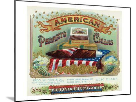 American Perfecto Cigars Brand Cigar Box Label-Lantern Press-Mounted Art Print