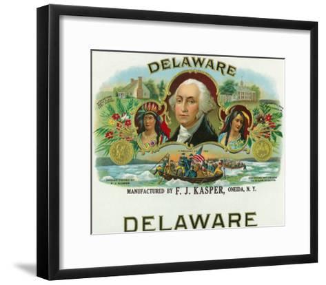 Delaware Brand Cigar Box Label-Lantern Press-Framed Art Print
