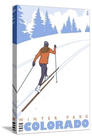 Cross Country Skier, Winter Park, Colorado-Lantern Press-Stretched Canvas Print