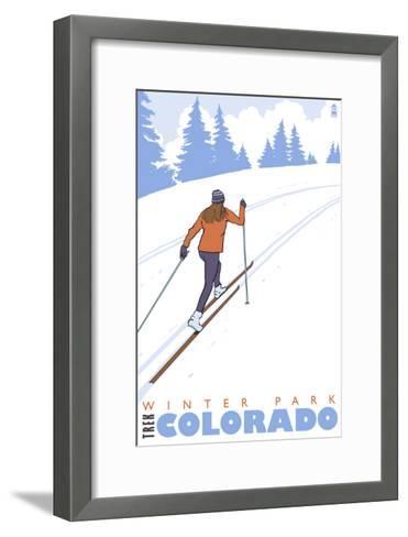 Cross Country Skier, Winter Park, Colorado-Lantern Press-Framed Art Print