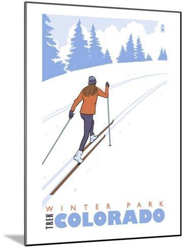 Cross Country Skier, Winter Park, Colorado-Lantern Press-Mounted Art Print