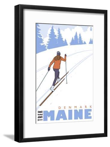 Cross Country Skier, Denmark, Maine-Lantern Press-Framed Art Print