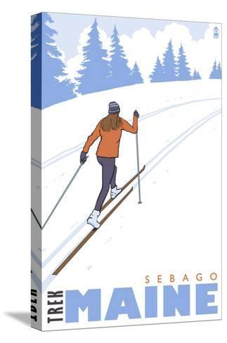 Cross Country Skier, Sebago, Maine-Lantern Press-Stretched Canvas Print