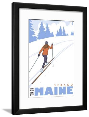 Cross Country Skier, Sebago, Maine-Lantern Press-Framed Art Print