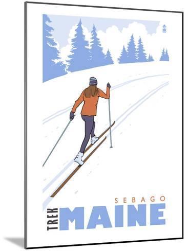Cross Country Skier, Sebago, Maine-Lantern Press-Mounted Art Print