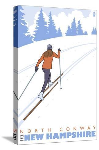 Cross Country Skier, North Conway, New Hampshire-Lantern Press-Stretched Canvas Print
