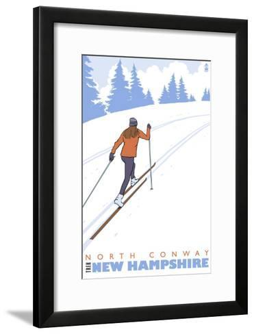 Cross Country Skier, North Conway, New Hampshire-Lantern Press-Framed Art Print
