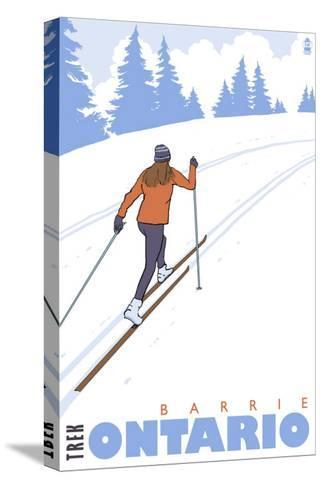 Cross Country Skier, Barrie, Ontario-Lantern Press-Stretched Canvas Print