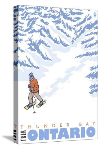 Stylized Snowshoer, Thunder Bay, Ontario-Lantern Press-Stretched Canvas Print