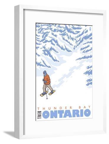 Stylized Snowshoer, Thunder Bay, Ontario-Lantern Press-Framed Art Print