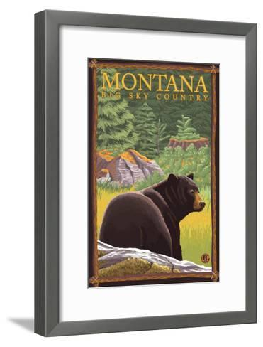Montana, Big Sky Country, Black Bear in Forest-Lantern Press-Framed Art Print