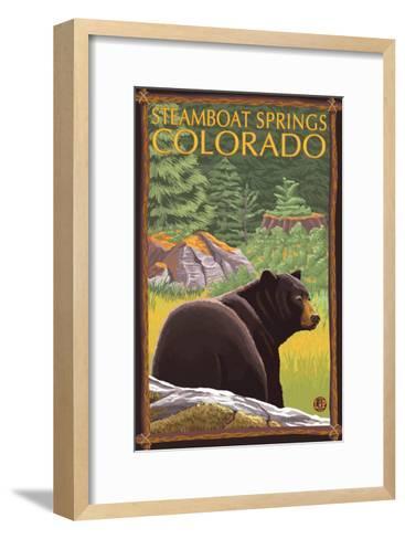 Steamboat Springs, Colorado, Black Bear in Forest-Lantern Press-Framed Art Print