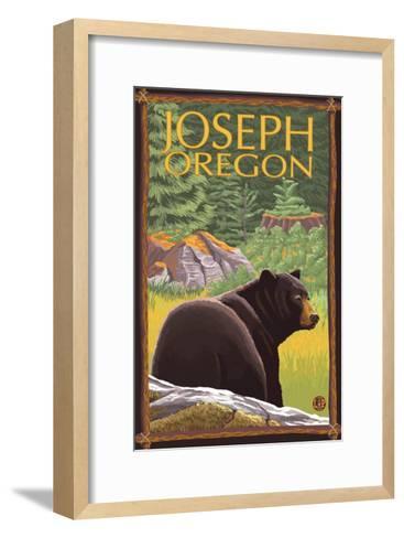 Joseph, Oregon, Black Bear in Forest-Lantern Press-Framed Art Print