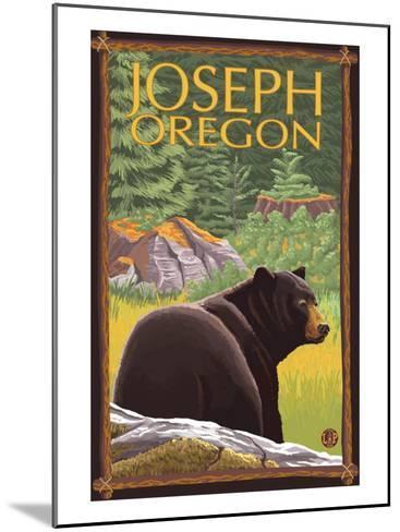Joseph, Oregon, Black Bear in Forest-Lantern Press-Mounted Art Print