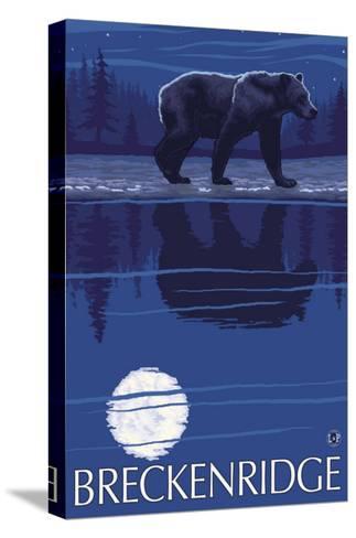 Breckenridge, Colorado, Bear in the Moonlight-Lantern Press-Stretched Canvas Print