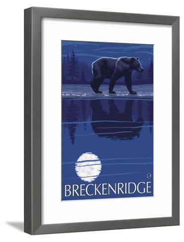 Breckenridge, Colorado, Bear in the Moonlight-Lantern Press-Framed Art Print