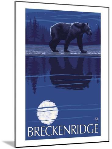 Breckenridge, Colorado, Bear in the Moonlight-Lantern Press-Mounted Art Print