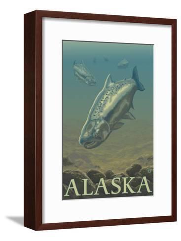 Alaska, Salmon View-Lantern Press-Framed Art Print