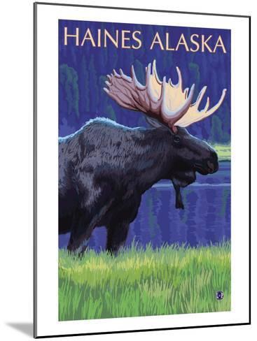 Haines, Alaska, Moose in the Moonlight-Lantern Press-Mounted Art Print