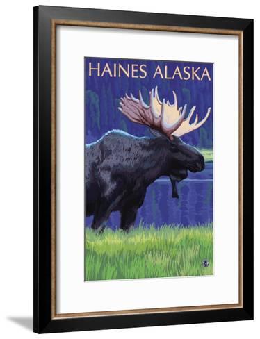 Haines, Alaska, Moose in the Moonlight-Lantern Press-Framed Art Print