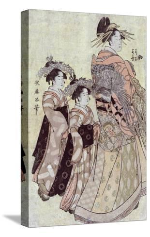The Courtesan Somenosuke of the House of Matsuba, Japanese Wood-Cut Print-Lantern Press-Stretched Canvas Print