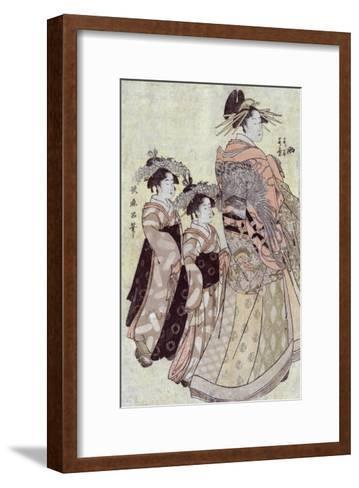 The Courtesan Somenosuke of the House of Matsuba, Japanese Wood-Cut Print-Lantern Press-Framed Art Print