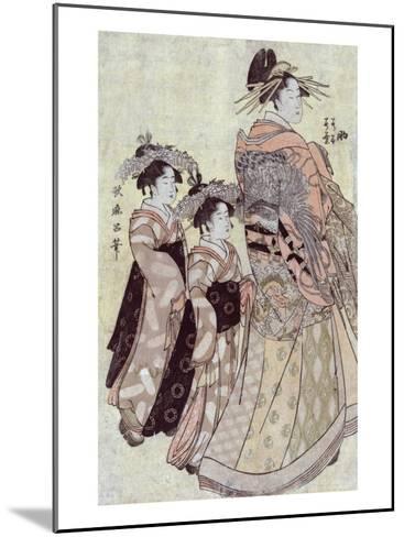 The Courtesan Somenosuke of the House of Matsuba, Japanese Wood-Cut Print-Lantern Press-Mounted Art Print