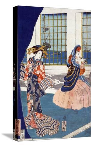 Courtesans in a Western-style Building of Yokohama, Japanese Wood-Cut Print-Lantern Press-Stretched Canvas Print