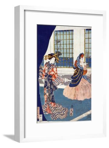 Courtesans in a Western-style Building of Yokohama, Japanese Wood-Cut Print-Lantern Press-Framed Art Print