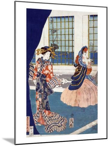 Courtesans in a Western-style Building of Yokohama, Japanese Wood-Cut Print-Lantern Press-Mounted Art Print