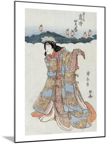 The Actor Iwai Shijaku in the Role of Kikunomae, Japanese Wood-Cut Print-Lantern Press-Mounted Art Print