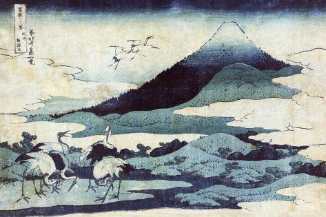 Cranes on the Ground and in Flight with Mount Fuji in the Background, Japanese Wood-Cut Print-Lantern Press-Stretched Canvas Print