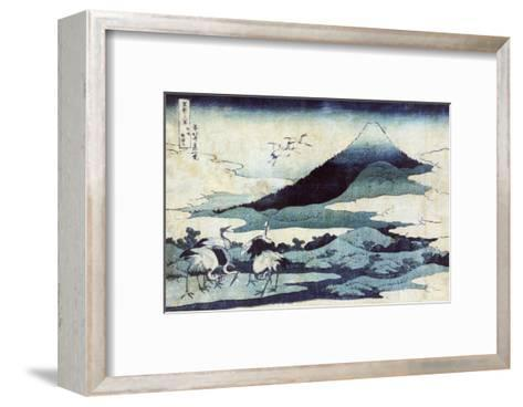 Cranes on the Ground and in Flight with Mount Fuji in the Background, Japanese Wood-Cut Print-Lantern Press-Framed Art Print