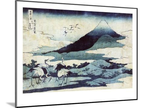 Cranes on the Ground and in Flight with Mount Fuji in the Background, Japanese Wood-Cut Print-Lantern Press-Mounted Art Print