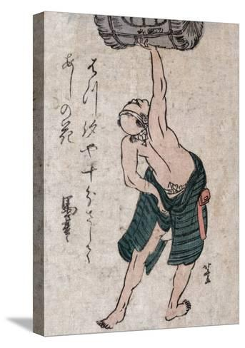 Man Lifting a Sake Barrel, Japanese Wood-Cut Print-Lantern Press-Stretched Canvas Print