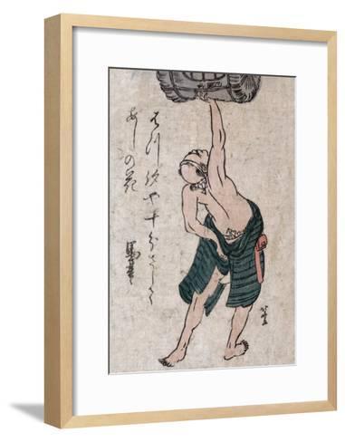 Man Lifting a Sake Barrel, Japanese Wood-Cut Print-Lantern Press-Framed Art Print