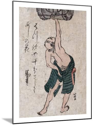 Man Lifting a Sake Barrel, Japanese Wood-Cut Print-Lantern Press-Mounted Art Print