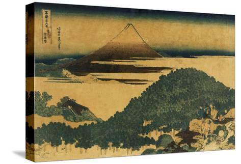 The Cushion Pine at Aoyama with Mount Fuji in the Distance, Japanese Wood-Cut Print-Lantern Press-Stretched Canvas Print