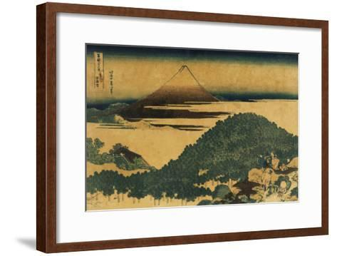 The Cushion Pine at Aoyama with Mount Fuji in the Distance, Japanese Wood-Cut Print-Lantern Press-Framed Art Print