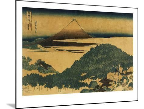 The Cushion Pine at Aoyama with Mount Fuji in the Distance, Japanese Wood-Cut Print-Lantern Press-Mounted Art Print