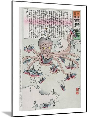 Officer on the Head of an Octopus Capturing Fish, Japanese Wood-Cut Print-Lantern Press-Mounted Art Print