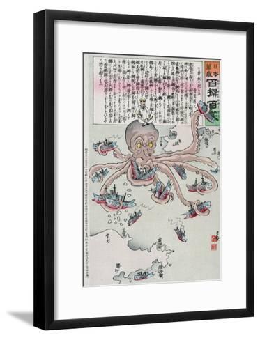 Officer on the Head of an Octopus Capturing Fish, Japanese Wood-Cut Print-Lantern Press-Framed Art Print