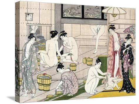 Bathhouse Women, Japanese Wood-Cut Print-Lantern Press-Stretched Canvas Print