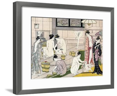 Bathhouse Women, Japanese Wood-Cut Print-Lantern Press-Framed Art Print