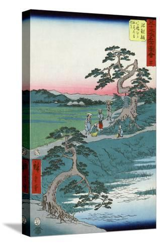 Pilgrims Pausing at a Fork in the Road, Japanese Wood-Cut Print-Lantern Press-Stretched Canvas Print