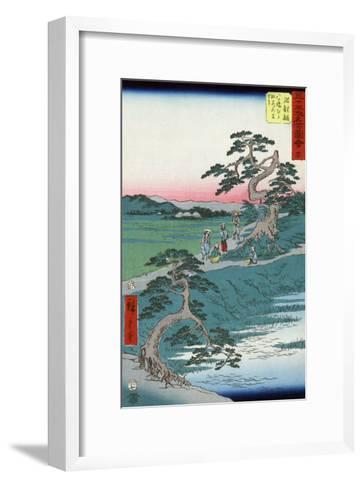 Pilgrims Pausing at a Fork in the Road, Japanese Wood-Cut Print-Lantern Press-Framed Art Print